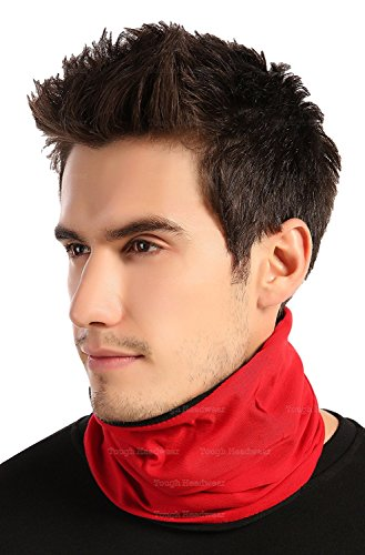 Tough Headwear Reversible Microfiber Fleece Gaiter Tube Neck Warmer (Solids) - Red Buff Thermal
