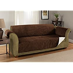 Furniture Fresh Luxury Textured Microsuede Pebbles Furniture Protector and Slipcover with Anti-slip Non-slip Backing (XL Sofa, Chocolate)-Water Repellant