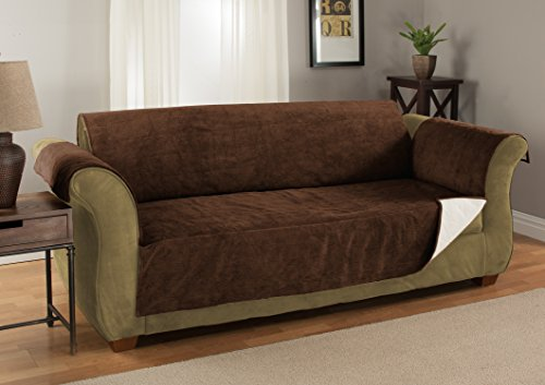 Furniture Fresh Heavy-Weight Luxury Textured Microsuede Pebbles Furniture Protector and Slipcover with Anti-slip Non-slip Backing (Loveseat, Chocolate)-Water Repellant - Furniture Slipcover Loveseat