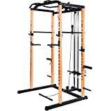 Vanswe Power Rack Power Cage 1000-Pound Capacity Home Gym Equipment Exercise Stand Olympic Squat Cage with LAT Pull Attachment, Multi-Grip Pull-up Bar and Dip Handle (Orange)