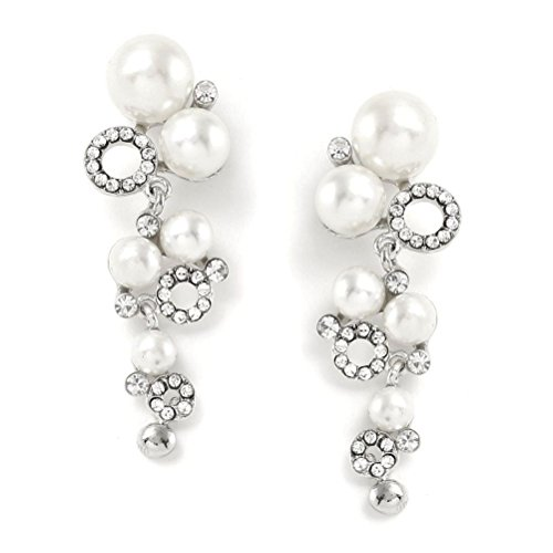 Pearls Grape Bunches Earrings (CSG Stainless steel Exquisite Crystal Luxurious Rhinestone White Pearl Grape Bunch Shape Dangle)