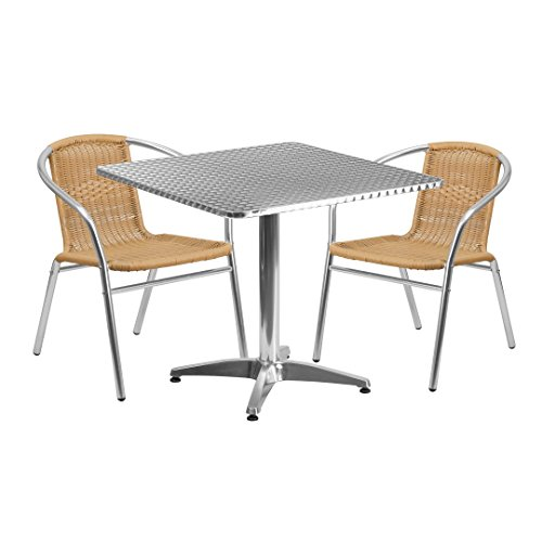 MFO 31.5'' Square Aluminum Indoor-Outdoor Table with 2 Beige Rattan Chairs