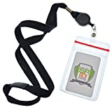 5 Pack - Premium Lanyards with Retractable Badge Reel and Vertical Heavy Duty Resealable Card Holder by Specialist ID (Black)