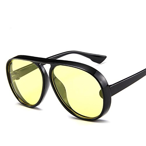86ae7f07761 LeonLion 2018 Vintage Pilot Sunglasses Men Candy Color Big Frame Thick  BorderSun Glasses For Women PC Classic Outdoor Travel Black Yellow   Amazon.in  ...