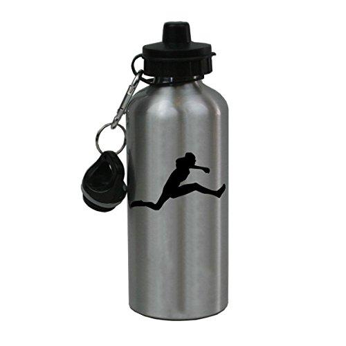 Personalized Custom Female Track Hurdler Hurdles Aluminum Silver Finish 20 Ounce Water Bottle Customizable