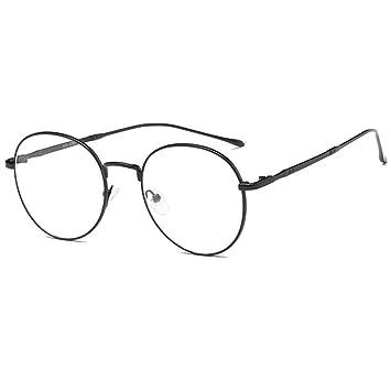bb9786ca175 YUNCAT Unisexe Rétro Rondes Metalique Cadre Frame Lunettes Vintage Verres  Transparent Style Aviateur Pilote Eyeglasses pour