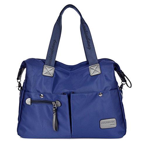 Outreo Vintage Bolsos Bandolera Mujer Bolso de Lona Marca Casual Messenger Bag Colegio universidad Grandes Bolsos Originales de Mano Azul One