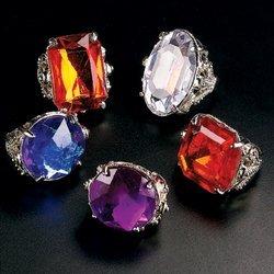 [JUMBO RHINESTONE RINGS (1 DOZEN) - BULK] (Costume Jewelry Diamond Rings)