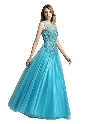 Sarahbridal Women Illusion Neck Long Prom Applique Dresses Tulle Evening...