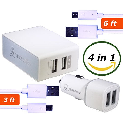 TekSonic 4 in 1 Charging Kit Bundle with Dual Port 2.1A Wall Charger, Fast Dual Car Charger, Extra long 6ft Charge and Sync Micro USB cable and 3ft Micro-USB cord for Samsung, LG, HTC, Sony, Moto Micro Usb Wall Charger