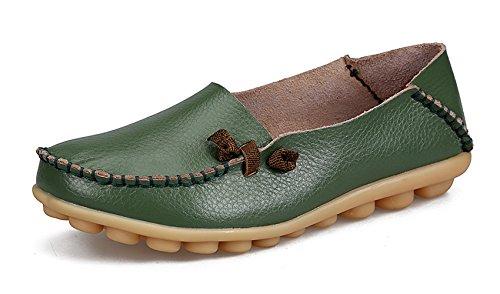 VenusCelia Women's Comfort Walking Cute Flat Loafer Green