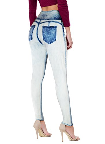 Womens Super Stretch 5 Button Hi Waist Skinny JeansP45059SK ICE ()
