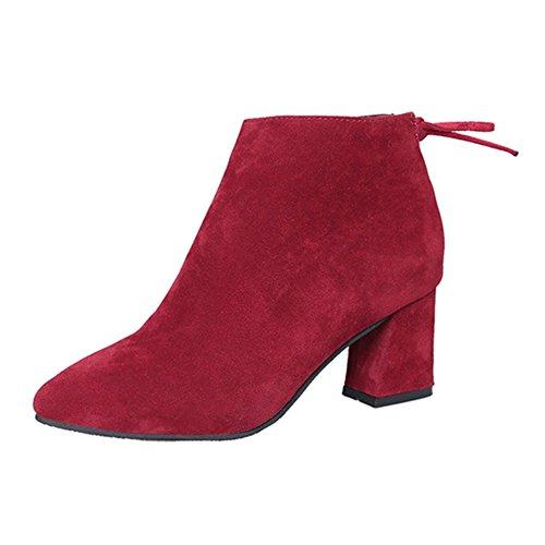 Zapatos de mujer Elegante botas de tobillo - hibote 2017 Botas de moda mujer de tacones medianos Vino Rojo