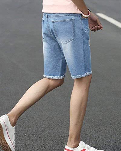Da A Jogger Classiche Base Blau Estate Ragazzi Bermuda Jeans Pantaloncini Di Scatto Destrutturati Uomo Short dnqd41H