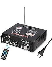 Docooler - Radio portatile per auto o casa, con telecomando ed amplificatore, stereo HiFi e mini display 2CH LCD, 12 V / 220 V