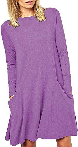 Purple Plain Lora Shirt Women's Casual Loose Aro Long Sleeve Dress T Tunic ZxnnP