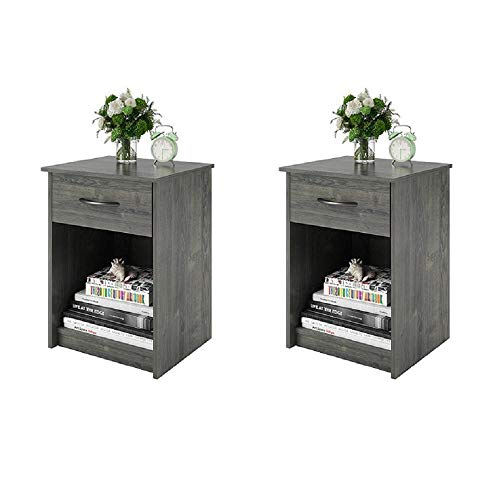 (Set of 2 Nightstand MDF End Tables Pair Bedroom Table Furniture Multiple Colors (Gray) (2 Sets, Rodeo Oak (Set of)