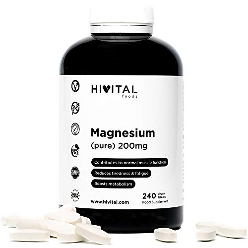 Magnesio puro 200 mg procedente de Citrato de Magnesio   240 comprimidos (Suministro para 8 meses)   Mejora los sistemas muscular y nervioso, reduce el cansancio y la fatiga, y activa el metabolismo.