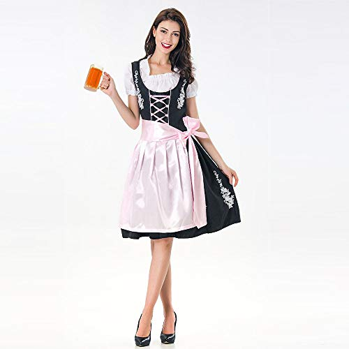 (HJuyYuah Women's Oktoberfest Costume Bavarian Beer Girl Drindl Tavern Maid Dress)