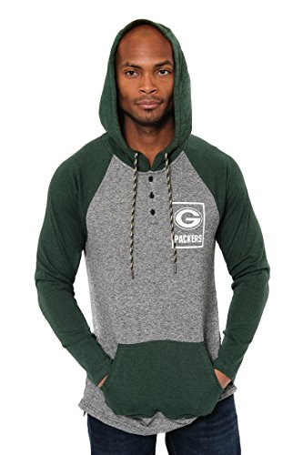 ICER Brands Adult Men Fleece Hoodie Pullover Sweatshirt Henley, Team Color, Green, Large ()