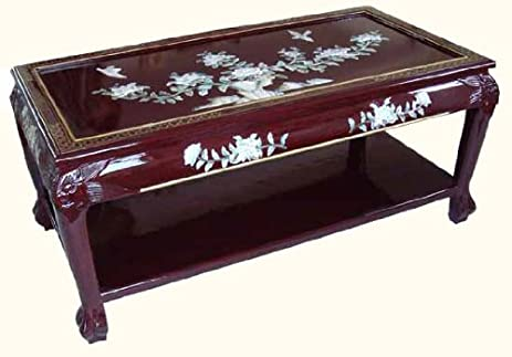 Amazoncom Oriental Coffee Table Inlaid Mother of Pearl Kitchen