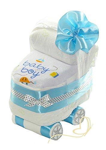 Windeltorte Windelwagen blau für Junge - Wunschlätzchen - Geschenk zur Geburt, Babyparty - Baby Boy dubistda.de
