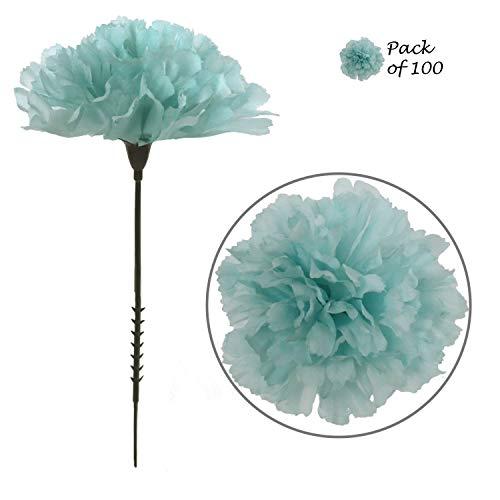 Larksilk Blue Silk Carnation Picks, Artificial Flowers for Weddings, Decorations, DIY Decor, 100 Count Bulk, 3.5 Carnation Heads with 5 Stems
