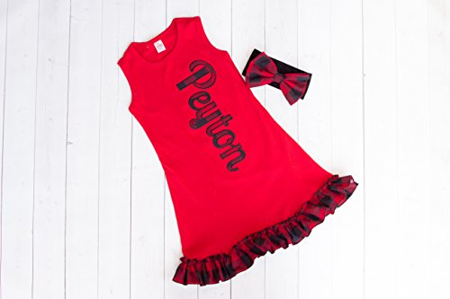Girl's Red Personalized Ruffle Dress by Thready Teddy Embroidery - Black and Red Buffalo Plaid Monogram - Custom Swimming Cover - Embroidered Beach Wear - Cute Name Summer Spring Outfit - Black Womens Name