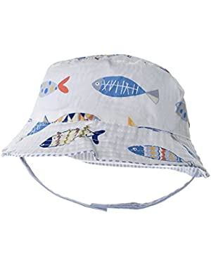 Boys Bucket Sun Hat Reversible Cotton Sun Protection Cap with Chin Strap
