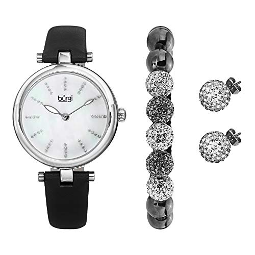 Burgi BUR241 Ladies Gift Set with a Stylish Case Watch with Leather Strap, and Glitter Markers, Crystal Beaded Bracelet and Crystal Earrings (Silver/White/Black)