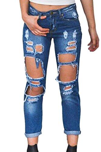 Jean De Un Deepblue Denim Rgulirement Les en Femmes en Jeans Pantalon q771Fz