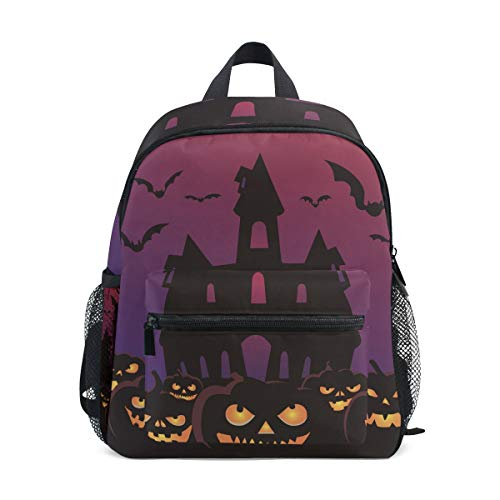 MUOOUM Scary Halloween Pumpkin Bat Kids Backpack Pre-School Toddler Bag Travel Daypack
