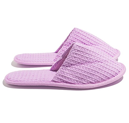 Lilac Size One Toed Waffle Coloured Slippers SPA Closed 6 OT8Uw1vqv