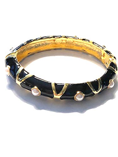 Kenneth Jay Lane, Two Tone/Contrast Enamel Gold Bangle Bracelet, Great for Stacking!!! Choose: Black/White OR Navy/Green (Black/Pearls) ()