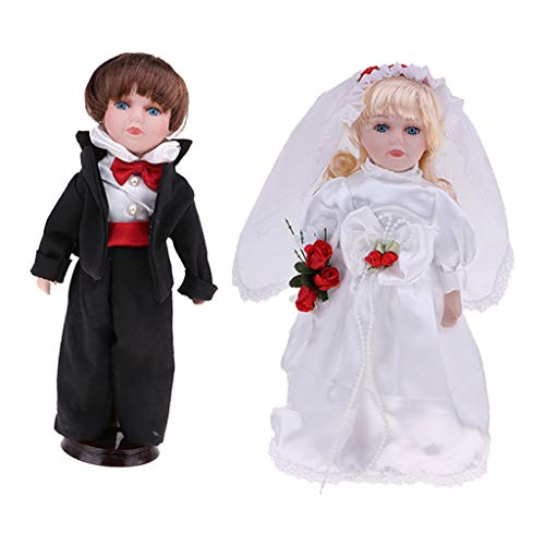 Porcelain Victorian Bride Doll - 2pcs 30cm Porcelain Victorian Doll in Wedding Outfit, Standing Bride and Groom with Wooden Stand, Valentine Gift, Home Office Desktop Ornaments