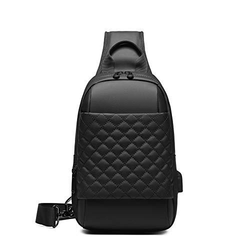 Eurcool Sling Bag for Men,Small Black Plaid Crossbody Bags,with USB Port Waterproof Daypacks,Hiking Biking Shoulder Bag