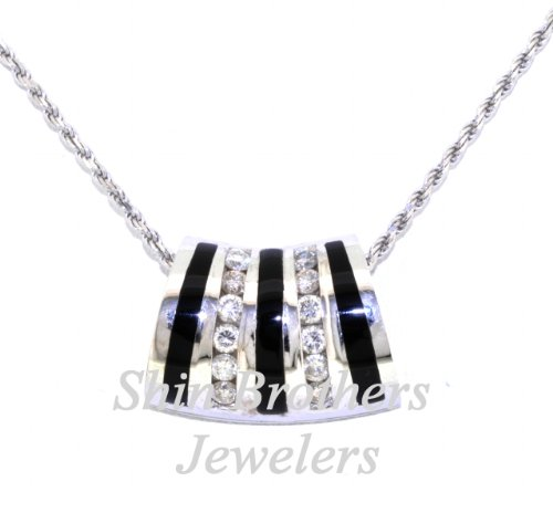 (14K White Gold Diamond and Onyx Slide Pendant)