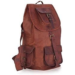 KPL Genuine Leather Backpack Rucksack Satchel Hiking Bag School Leather Bag