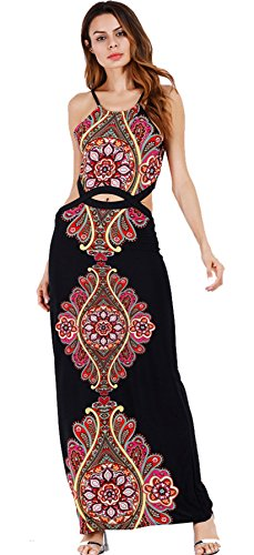 Out Tribal Cut (Sleeveless Cut Out Ethnic Tribal African Aztec Paisley Long Maxi Bodycon Dress Black S)