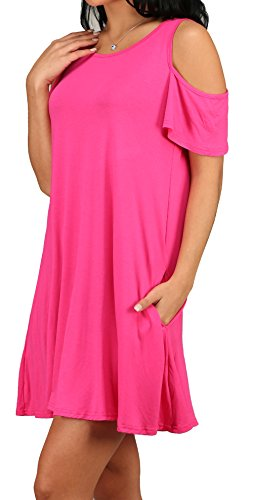 Dress Casual T Women's Pockets Tunic Shirt XL Loose S 01 rosy Alaroo with Yqw4IEdxw