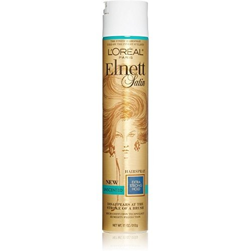 L'Oreal Elnett Satin Hairspray Extra Strong Hold Unscented 11 oz (Pack of 4)