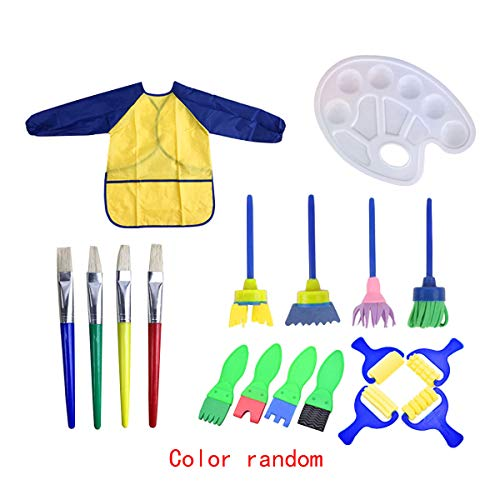 (Felice 18 Pcs Kids Young Artist Learn to Paint Set Sponge Painting Brushes Tools Craft Brushes Sets with a Paint Tray Palette and Waterproof Art Smock Art)