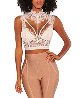 PJTOP Women's Sexy Mock Neck Sheer Lace Strappy Bustier Shirt Party Club Crop Top