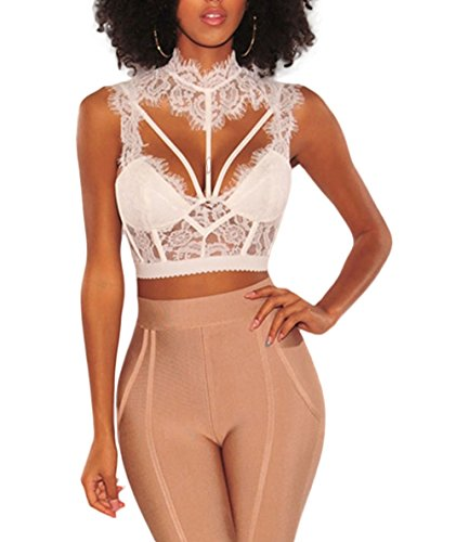 TIMEE Women's Mock Neck Sheer Lace Strappy Backless Tank Crop Top White M