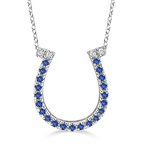 Sapphire and Diamond Horseshoe Pendant Necklace 14k White Gold (0.25ct) (Sapphire Pendant Horseshoe)