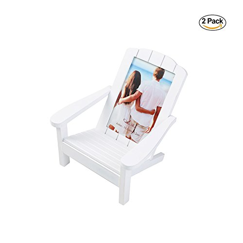 - Aike Adirondack Chair Wooden Picture photo Frame Beach Shoreline Dimensional Décor on Desk Table White 4 by 6 inch with 2 Sets Pack