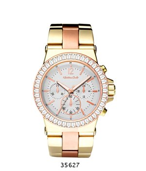 Trendy Fashion Two-Tone Gold with Rose Gold Metal Band Watch with White Dial By Fashion Destination