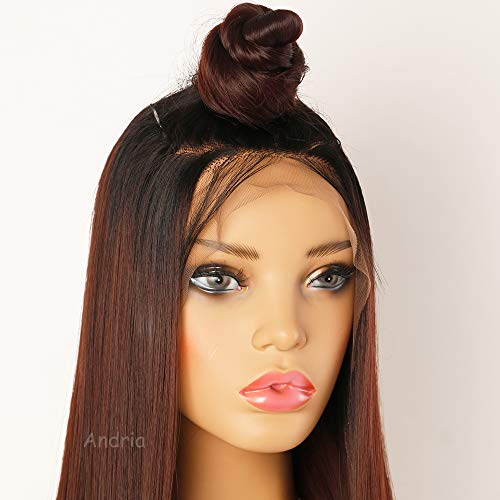 Andria Hair Ombre Dark Auburn Lace Front Synthetic Wigs Long Straight Heat  Resistant Hair Pre