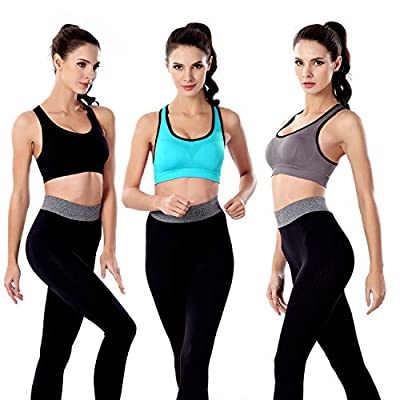 3 Pack Women Racerback Sports Bras High Impact Workout Yoga Gym Activewear Fitness Bra