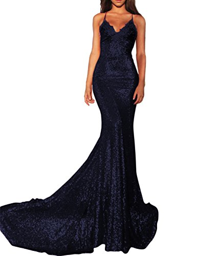 Women's Sexy Mermaid Long Sequin Evening Party Dress Spaghetti Strap Prom Gown 218 Navy Blue 10 (Floor Sexy)